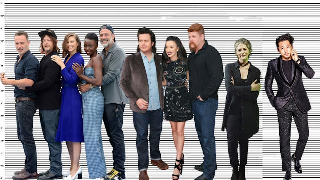 "Steven Yeun with Andrew Lincoln (5'10""), Norman Reedus (5'9.5""), Lauren Cohan (5'7""), Danai Gurira (5'6""), Josh McDermitt (6""), Christian Serratos (5'5""), Michael Cudlitz (6'1"") and Melissa McBride (5'6"")"
