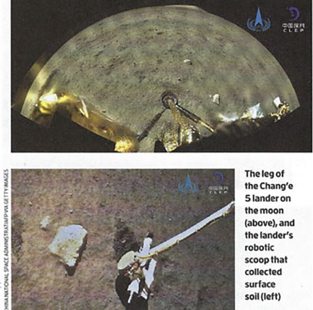 Chang 5 mission returns lunar samples to Earth (Source: Leah Crane, New Scientist 12 Dec 2020)