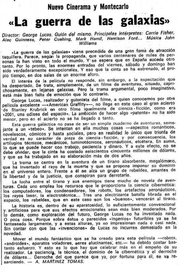 "Crítica de ""La Vanguardia"" de La guerra de las galaxias. 1977."