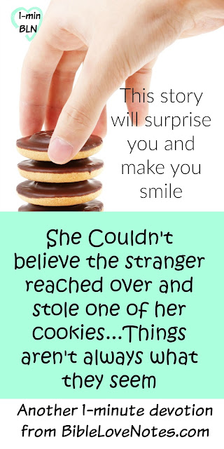 funny story about a man stealing cookies - lesson in perspective & judgement
