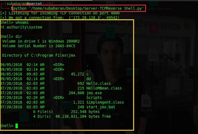 run the reverse TCP shell server