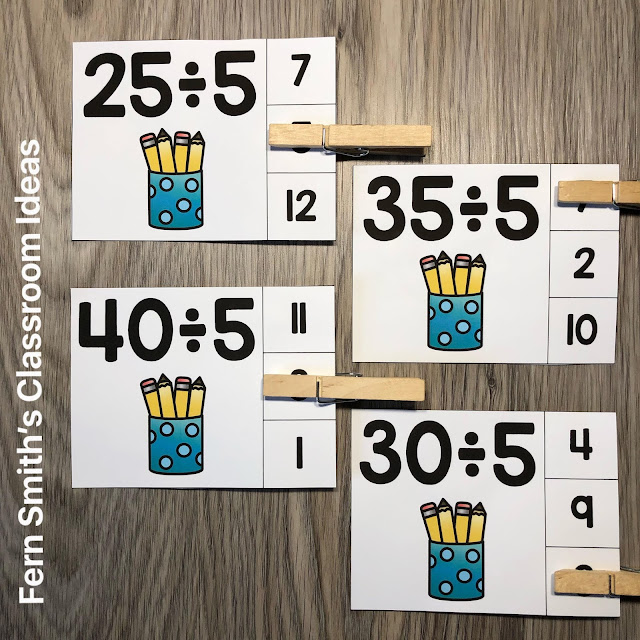 Click Here to Grab These Back to School Themed Division Clip Cards for Your Class Today!