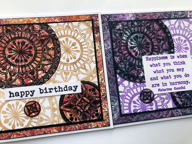 PaperArtsy stamp set EGL01 - by Gwen Lafleur with Gelli Plate printing