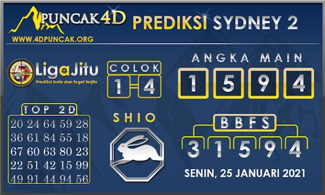PREDIKSI TOGEL SYDNEY2 PUNCAK4D 25 JANUARI 2021