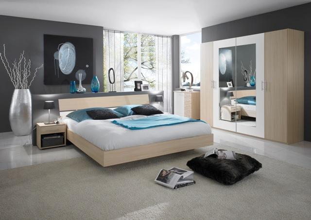 Dormitorios en gris y turquesa ideas para decorar for Habitacion blanca y turquesa