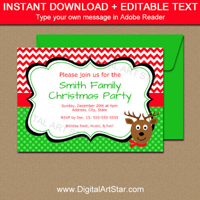 printable Christmas Reindeer Invites