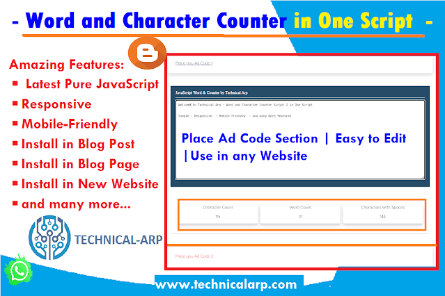 Javascript Word and Character Counter Script for Blogger and WordPress