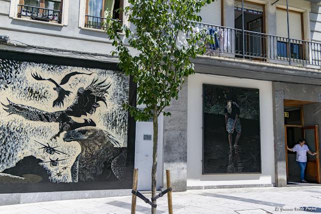 Murales 'Águilas vs Drones' y 'Adolescente'', Andoni Euba - Bilbao por El Guisante Verde Project