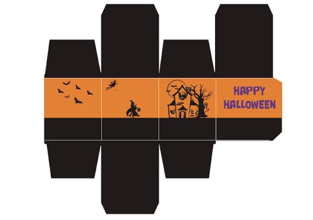 descarga gratis caja halloween forma de cubo con brujas y cuervos