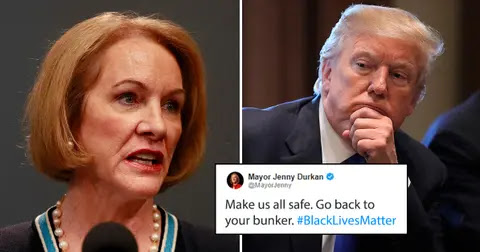 """US President Donald Trump """"go back to your bunker"""""""