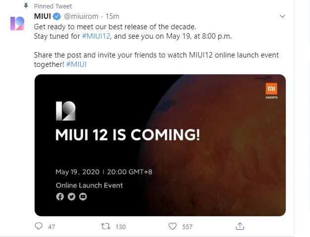 [ Official ] Xiaomi MIUI12 online launch event date announced