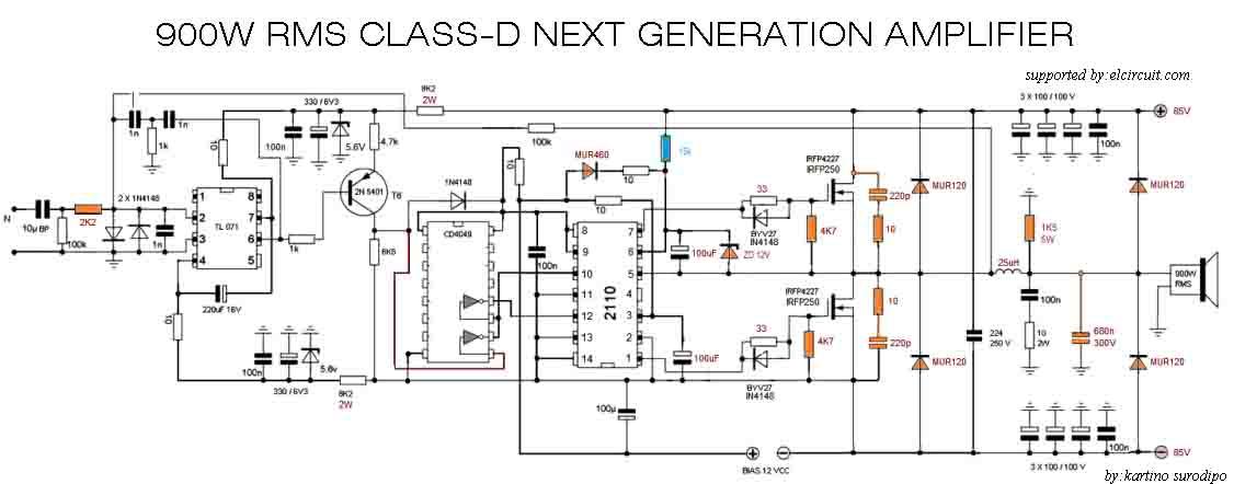 900w power amplifier circuit diagram