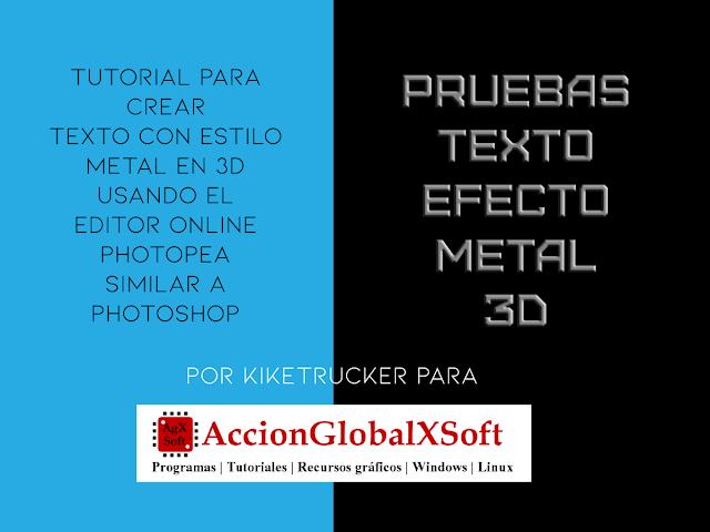 Vídeo Tutorial texto efecto metalizado 3D usando Photopea, rápido y online