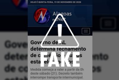 É falso que Governo de Alagoas publicará novo decreto emergencial neste sábado, 21