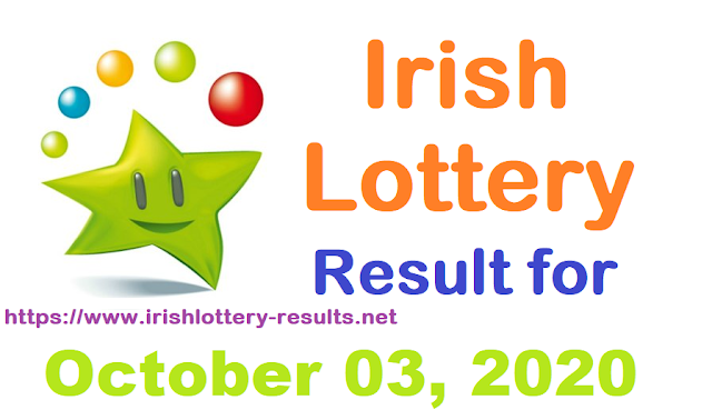 Irish Lottery Result for Saturday, October 03, 2020