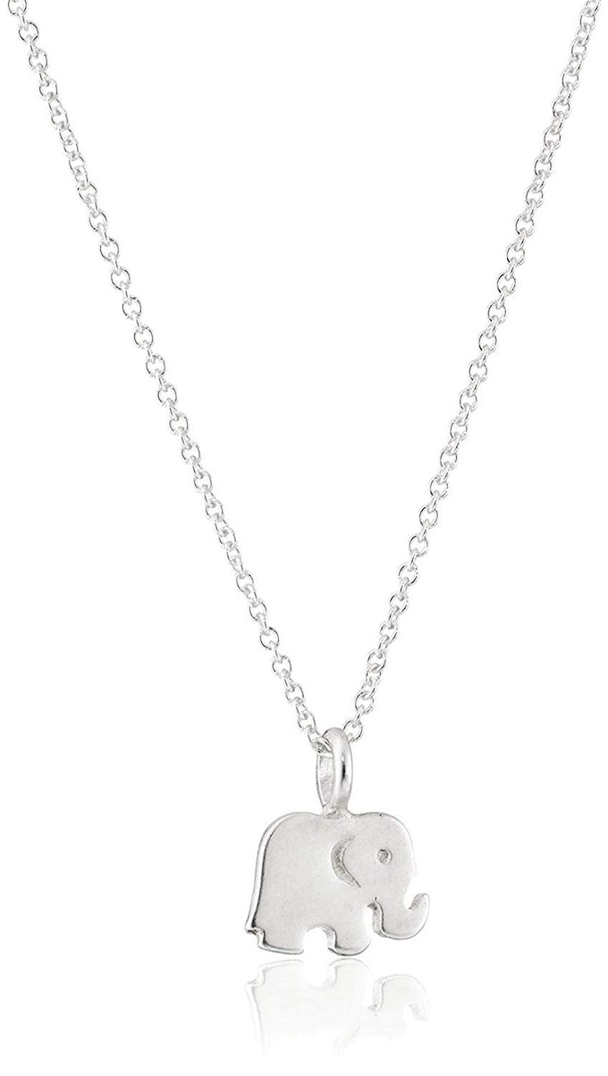 Good Luck Elephant Pendant Necklace Sister Gift Friends Gift for Women,Silver