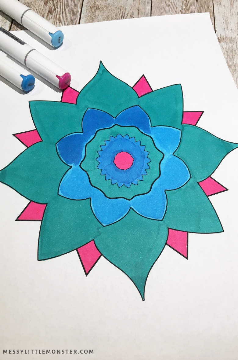 Kids rangoli colouring page
