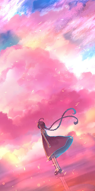 Screen background with colorful clouds