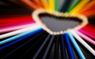 Heart Shape with Color Pencils HD Love Wallpaper