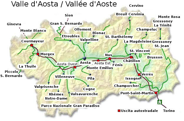 Cartina Valle D Aosta Stradale.La Valle D Aosta Caratteristiche Storia Economia E Risorse