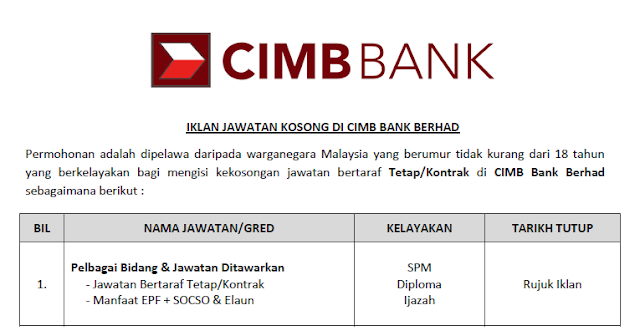 jawatan cimb bank