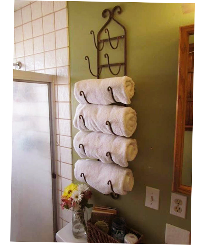 Creative idea for small bathroom towel rack ideas new for Bathroom towel storage
