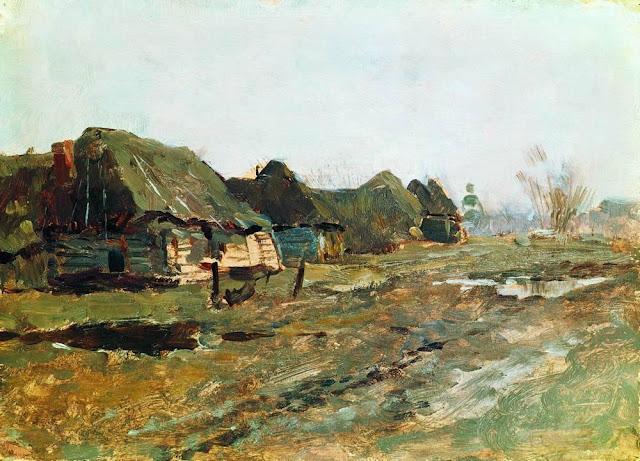 Исаак Ильич Левитан - Постой в деревне. 1890-е