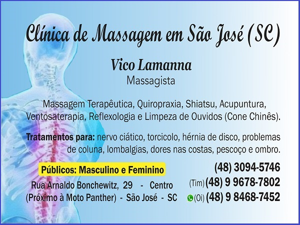 Vico Massagista - São José SC - Massagem, Massoterapia, Quiropraxia e Acupuntura