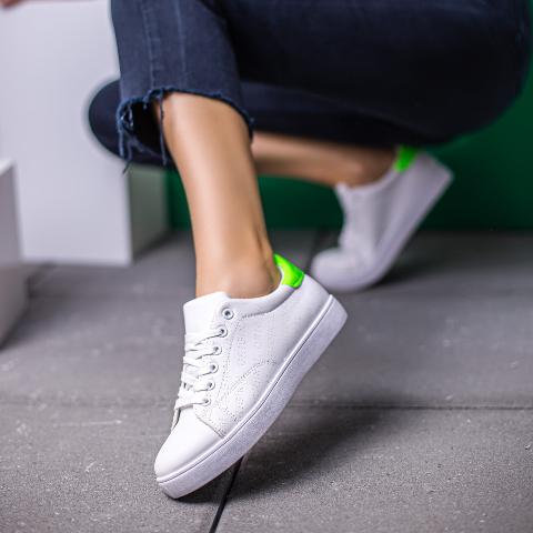 Adidasi dama albi cu verde foarte ieftini si frumosi