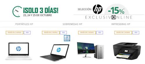 Mejores ofertas de la promoción ¡Solo 3 días! -15% adicional en selección HP de El Corte Inglés
