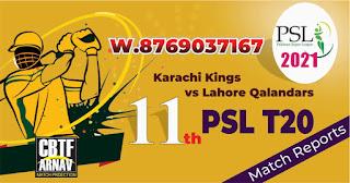 Karachi vs Lahore 11th PSL T20 Today Match Prediction 100% Sure Winner