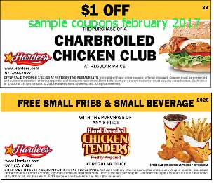 Hardees coupons for february 2017