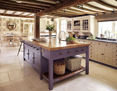 Purple rustic kitchen island ideas with brown granite countertop and wooden bar stools