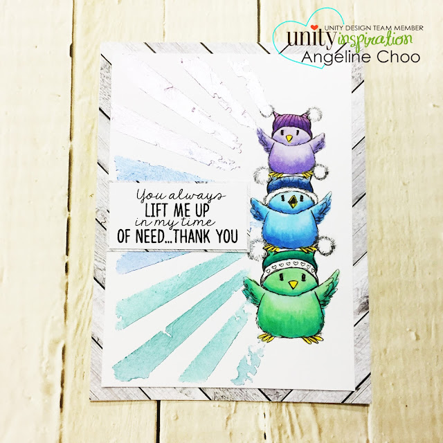 ScrappyScrappy: New Year Blog Hop with Unity Stamp - Lift me up Birdies #scrappyscrappy #unitystampco #tierrajackson #card #cardmaking #copicmarkers #tonicstudios #nuvomousse #timholtz #timholtzministencil #stencil #sunburst #papercraft #stamp #stamping