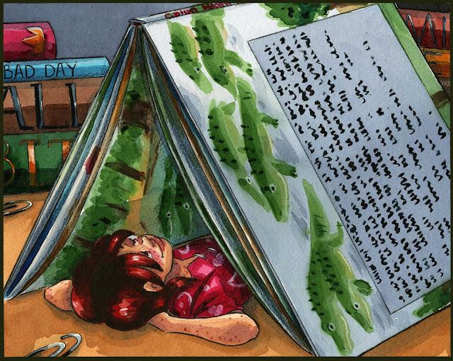 Cajun Night Before Christmas, watercolor, kidlit art