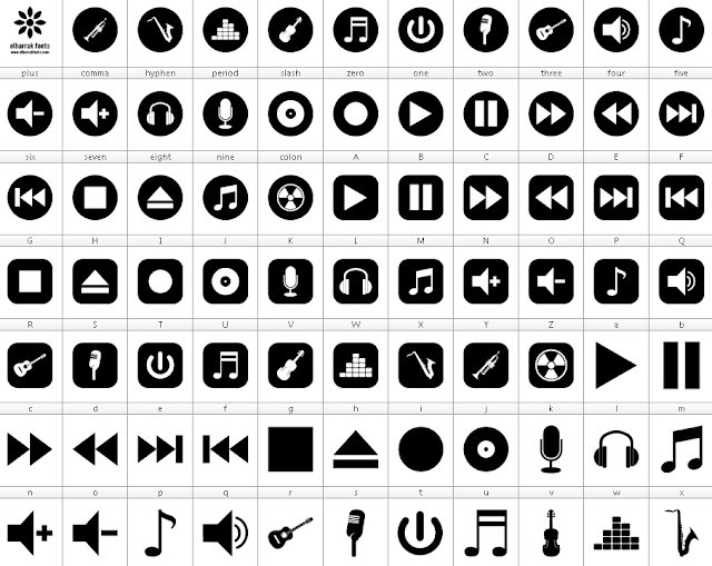 download font bottons music 78 icons play fast forward stop eject pause télécharger font ttf otf free  elharrak fonts