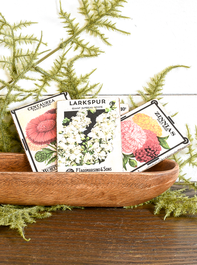 Displaying DIY vintage floral seed packets