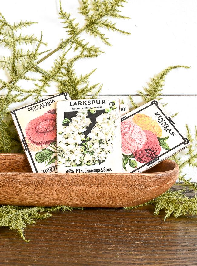 Displaying DIY vintage floral seed packets