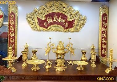 Đỉnh đồng thờ cúng cao cấp giá trăm triệu, bồ đồ thờ phú quý dát vàng