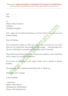 sample credit limit increase approval letter