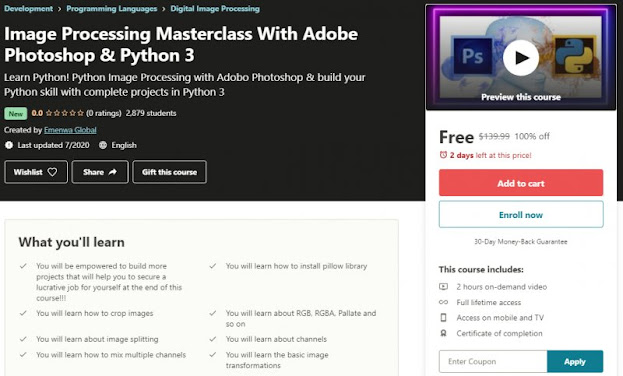 [100% Off] Image Processing Masterclass With Adobe Photoshop & Python 3| Worth 139,99$