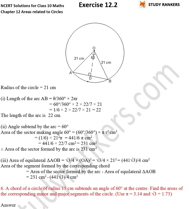 NCERT Solutions for Class 10 Maths Chapter 12 Areas related to Circles Exercise 12.2 Part 6