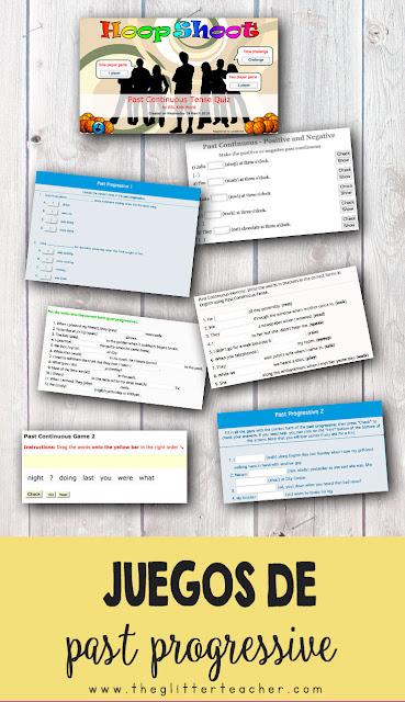 Recopilación de ejercicios y juegos online para practicar la estructura del pasado continuo en inglés.