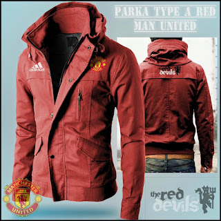 Jaket Hoodie Distro Bola Parka Manchester United MU Red