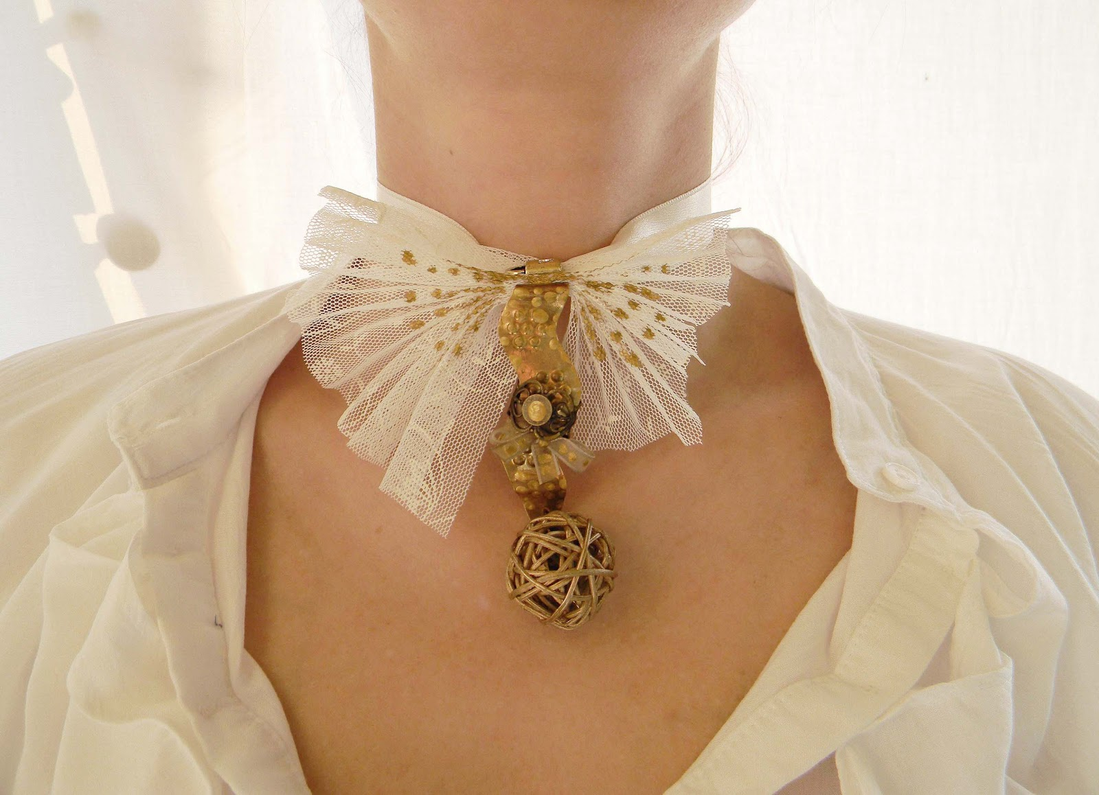 Metallic Ivory- Handmade Choker,Bow Tie,Tulle Necklace