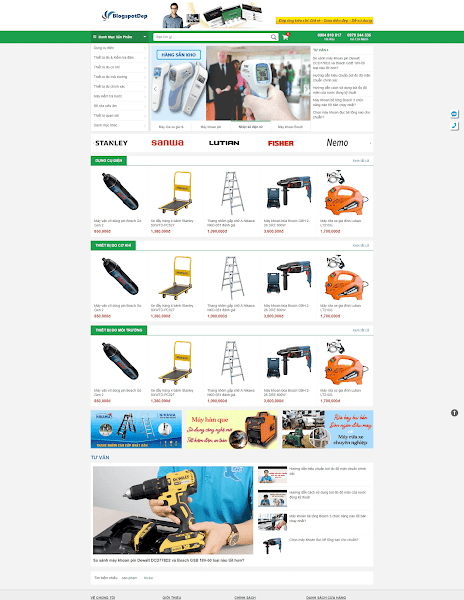 Template blogspot bán hàng máy móc vật liệu xây dựng