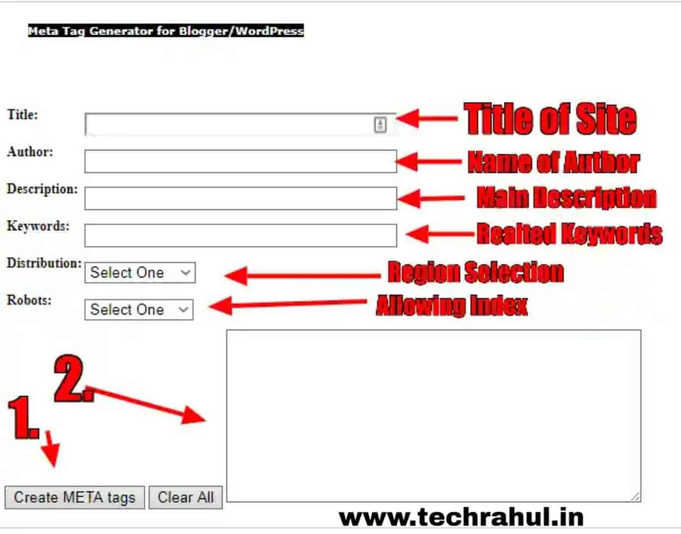 Meta Tag Generator for Google Blogger