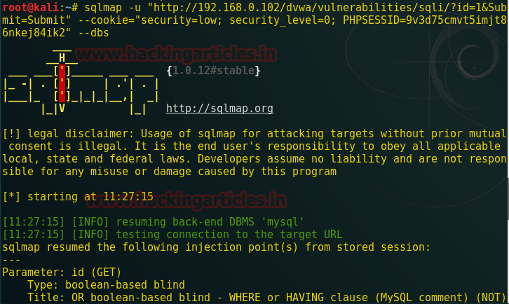Command Injection Exploitation through Sqlmap in DVWA (OS cmd)