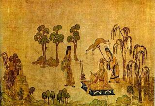 Гу Кайчжи. Свиток «Фея реки Ло», деталь. Копия XII или XIII века.Галерея искусства Фрир, Вашингтон.