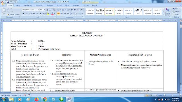 Contoh Format Silabus PJOK K13 Kelas 5 SD Semester 1 Revisi Terbaru